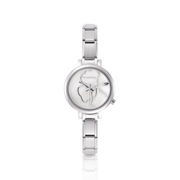 PARIS  watch with stainless steel and leather band (013_White)