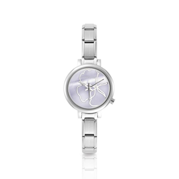 PARIS  watch with stainless steel and leather band (014_Pink)