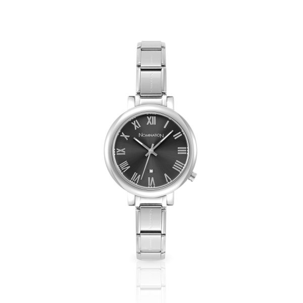 PARIS big watch  with stainless steel band and quadrant (018_Gun)