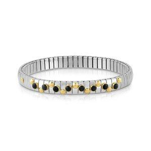 EXTENSION bracelet in stainless steel with 18K gold and small stones (002_BLACK AGATE)