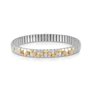 EXTENSION bracelet in stainless steel with 18K gold and small stones (006_PINK CORAL)