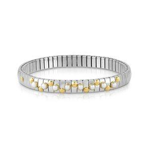 EXTENSION bracelet in stainless steel with 18K gold and small stones (007_WHITE PEARL)