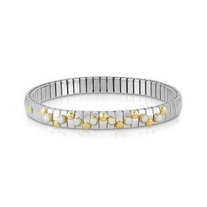 EXTENSION bracelet in stainless steel with 18K gold and small stones (022_WHITE OPAL)