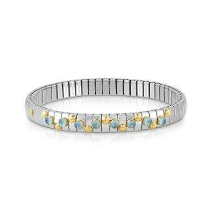 EXTENSION bracelet in stainless steel with 18K gold and small stones (025_LIGHT BLUE TOPAZ)November Birthstone / December Birthstone