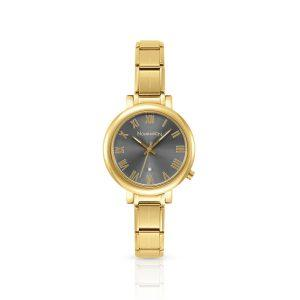 Paris watch with CZ and Big Comp strap in gold stainless steel (018_Gun)