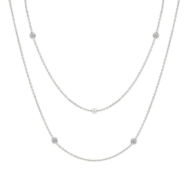 BELLA necklace in 925 silver, Cubic Zirconia and Pearls 3 (DOUBLE) (010_Silver)