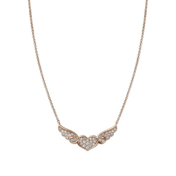 ANGEL necklace in 925 silver and cubic zirconia (011_Rose Gold)