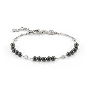 BELLA 925 Sterling Silver Bracelet, Cubic Zirconia and 3 Pearl rows (014_GREY PEARL)