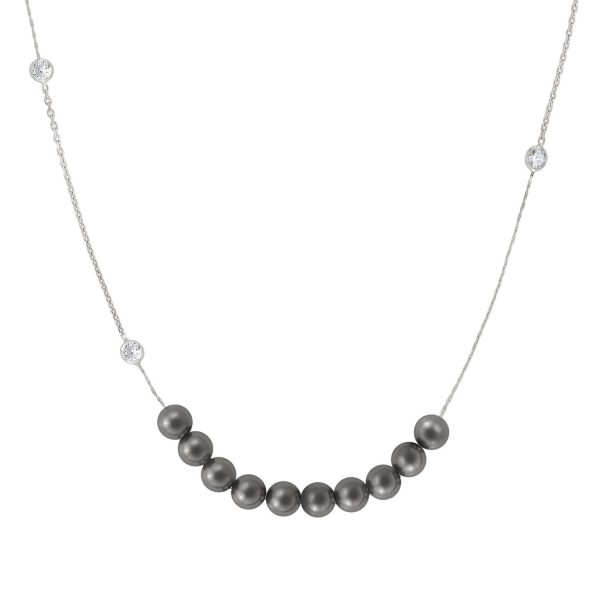 BELLA 925 Sterling Silver Necklace, Cubic Zirconia and Pearl Rings (LONG) (014_GREY PEARL)