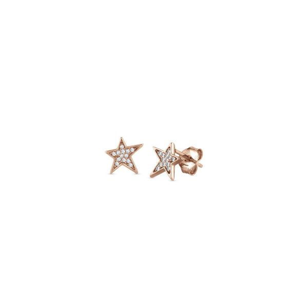 STELLA 925 Sterling Silver Stud Earring and Cubic Zirconia (stud) (011_Rose Gold)