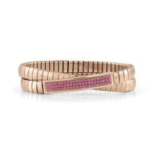 Steel XTE Bracelets and Swarovski Double Fin, Rose GOLD (030_FUCHSIA)