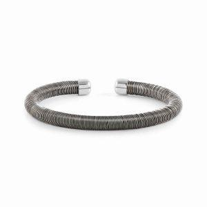 ESSENZIA Synthetic rubber and 925 silver bracelet (001_BLACK)