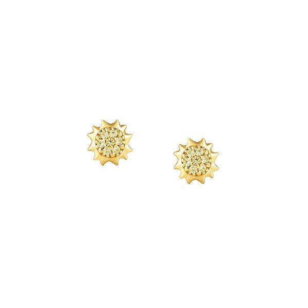GIOIE 925 silver Earrings and cubic colored zirconia (021_Sun Yellow Gold)