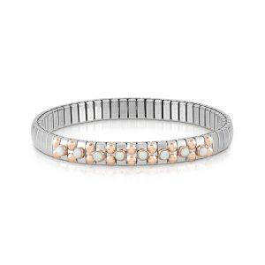 Bracelet XTE S steel and rose gold 375 with 8 stones (022_WHITE OPAL)