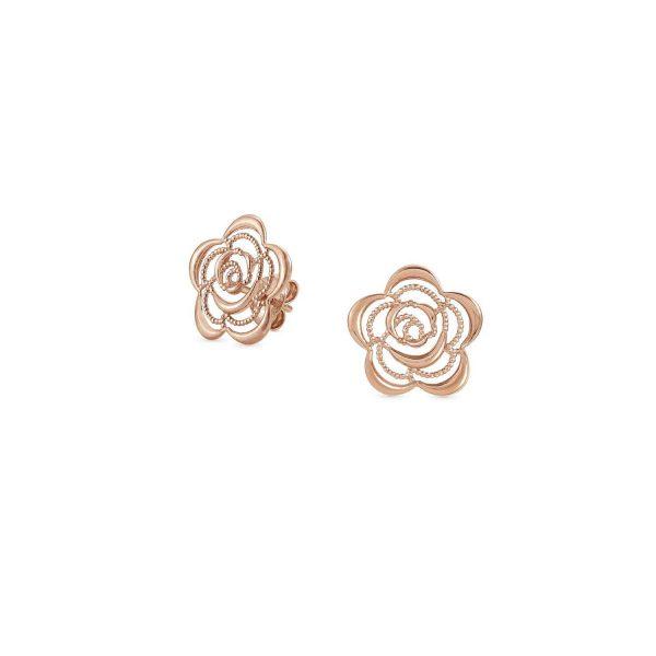 PRIMAVERA earrings in 925 silver (024_Rose gold flower)