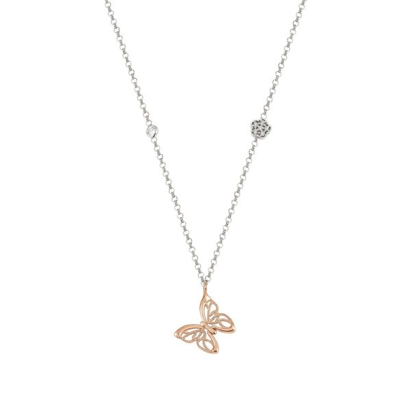 PRIMAVERA necklace in silver 925 and Cubic Zirconia SMALL (019_Rose Gold Butterfly)
