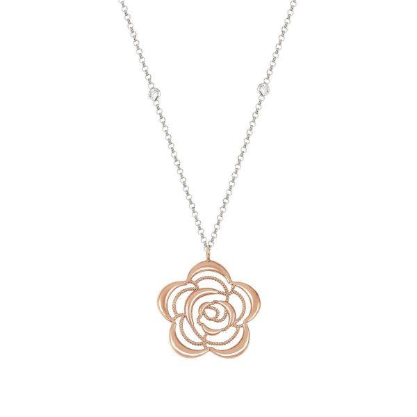 PRIMAVERA necklace in 925 silver and BI-TONE Cubic Zirconia (024_Rose gold flower)