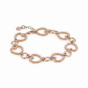 ROCK IN LOVE SILVER ed, bracelet in 925 silver HEARTS (E) (011_Rose Gold)