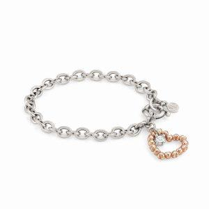 ROCK IN LOVE SILVER ed, bracelet in 925 silver and zircon (E) (011_Rose Gold)