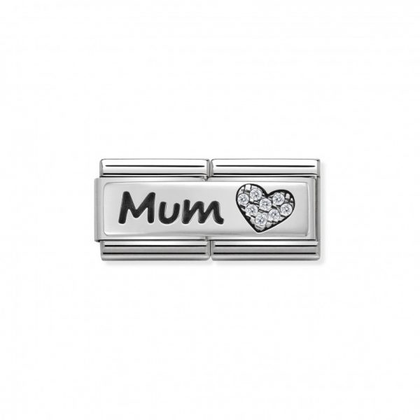 Composable DOUBLE Classic SYMBOLS steel Cub zircon and silver 925 (07_Mum And Heart)