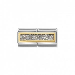 Composable Classic DOUBLE ENGRAVED steel, enamel and gold 750 (02_Glitter Rectangle SILVER)