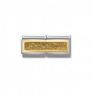Composable Classic DOUBLE ENGRAVED steel, enamel and gold 750 (03_Glitter Rectangle GOLD)
