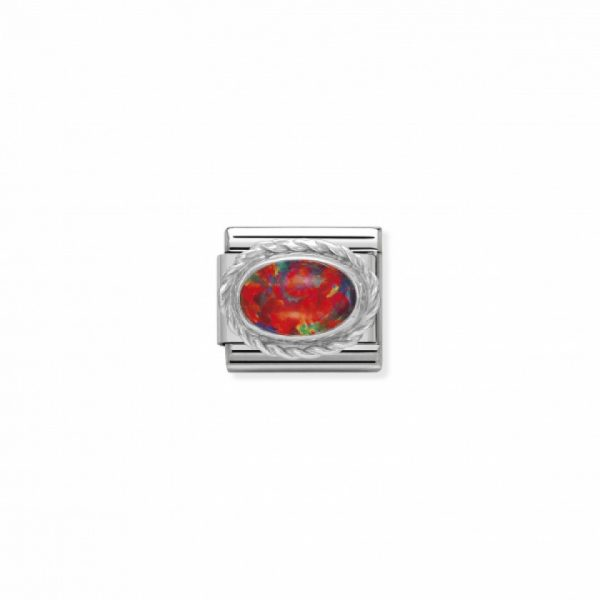 Comp. Classic hard stones stainless steel, rich silver 925 setting RED OPAL