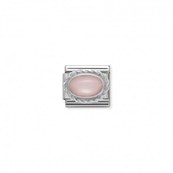 Comp. Classic hard stones stainless steel, rich silver 925 setting PINK OPAL