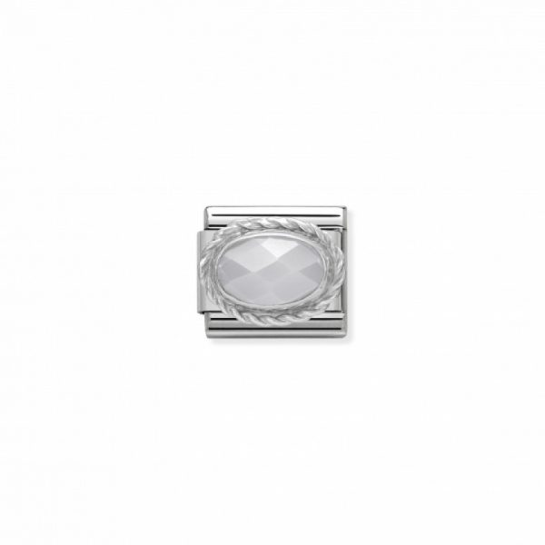 Comp. Classic hard stones stainless steel, rich silver 925 setting Faceted White Jade