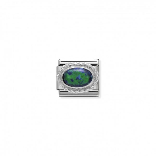 Comp. Classic hard stones stainless steel, rich silver 925 setting Green Opal