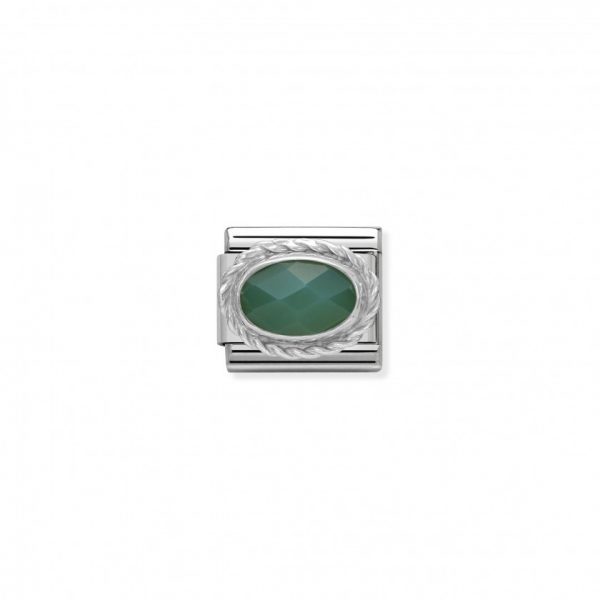 Comp. Classic hard stones stainless steel, rich silver 925 setting Faceted Green Agath