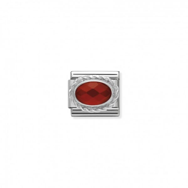 Comp. Classic hard stones stainless steel, rich silver 925 setting Faceted Red Agath