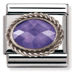Composable Classic FACETED CZ in stainless steel with sterling silver setting and detail PURPLE
