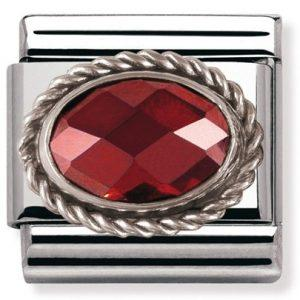 Composable Classic FACETED CZ in stainless steel with sterling silver setting and detail RED
