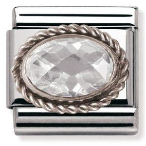 Composable Classic FACETED CZ in stainless steel with sterling silver setting and detail White