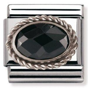 Composable Classic FACETED CZ in stainless steel with sterling silver setting and detail Black