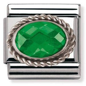 Composable Classic FACETED CZ in stainless steel with sterling silver setting and detail EMERALD GREEN