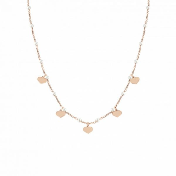 MON AMOUR necklace in sterling silver, stainless steel, PEARLS, fin, Rosegold (022_Heart)