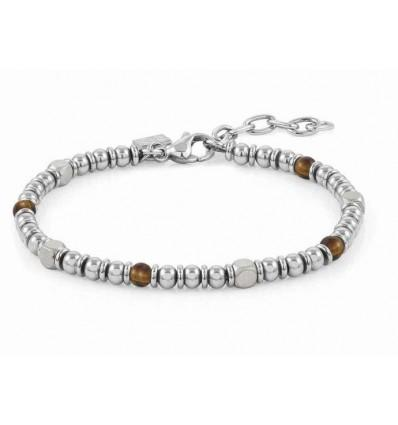 INSTINCT bracelet in stainless steel and stones (041_TIGER EYE)