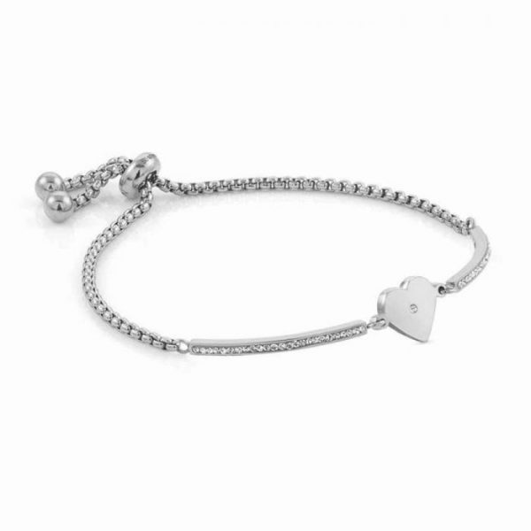 MILLELUCI bracelet in stainless steel and cubic zirconia (022_Heart)