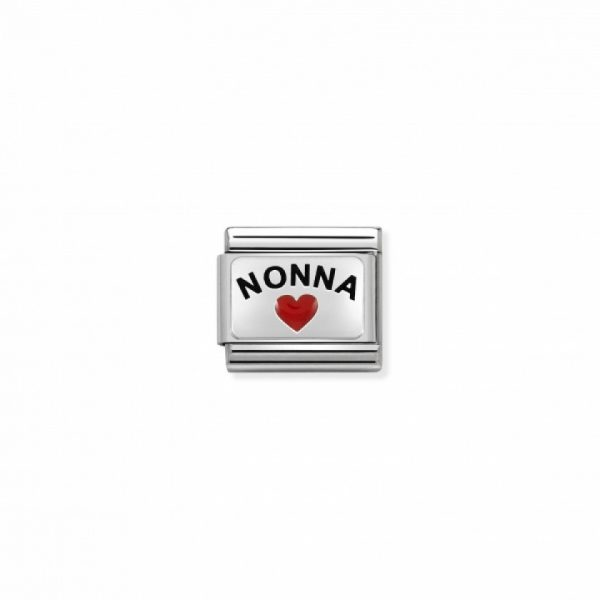 Composable CL OXIDIZED PLATES in steel, enamel and 925 silver (36_'Nonna with heart)