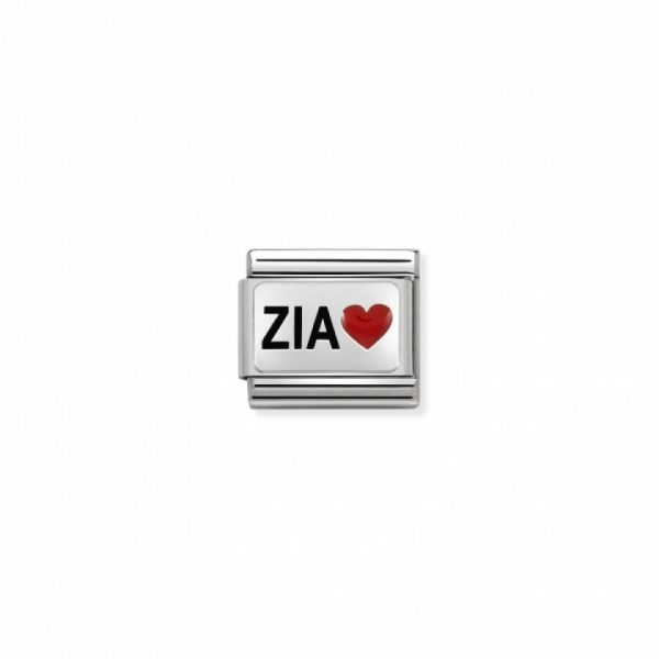 Composable CL OXIDIZED PLATES in steel, enamel and 925 silver (38_ZIA with heart)