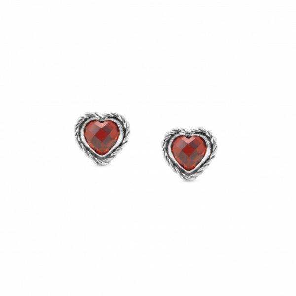 HEART-SHAPED EARRINGS IN SILVER - RED
