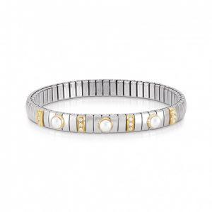 STRETCH BRACELET WITH 3 HARD STONES AND CUBIC ZIRCONIA