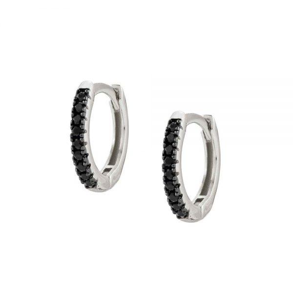 Easychic Silver Black CZ Hoop Earrings