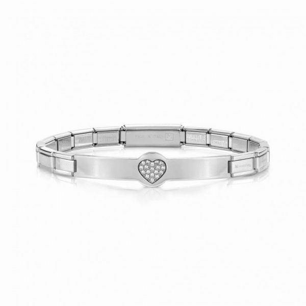 TRENDSETTER bracelets in stainless steel, sterling silver and BLACK cubic zirconia (022_Heart)