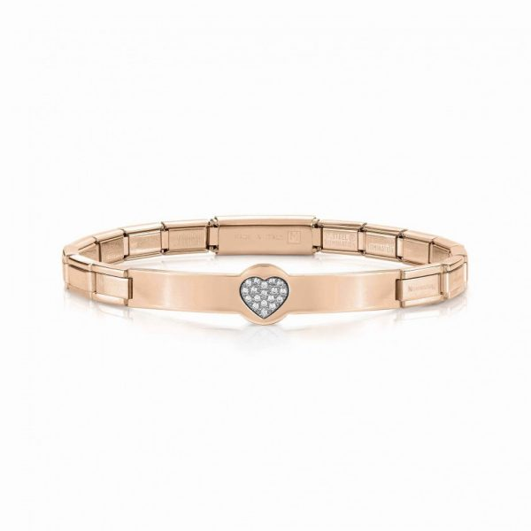 TRENDSETTER bracelets in stainless steel, sterling silver and cubic zirconia ROSEGOLD PVD finish (022_Heart)