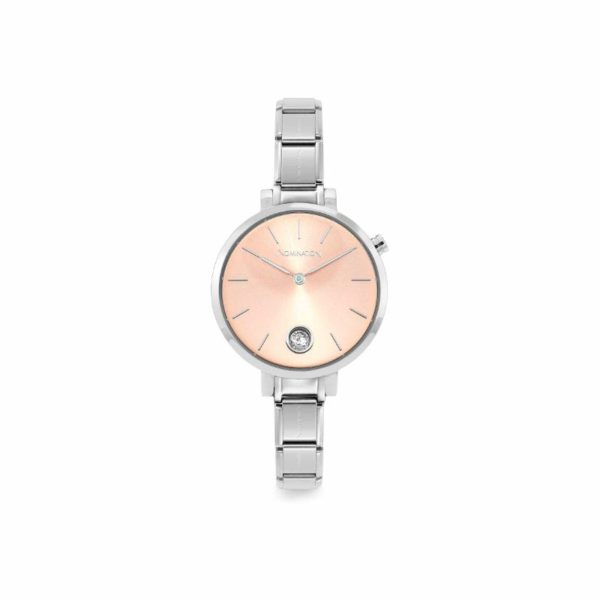 PARIS watch with steel band ROUND with zircon (027_Pink gold)