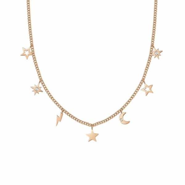 STARDUST Necklace in stainless steel with cz (051_Rose Gold Mixed)