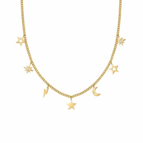 STARDUST Necklace in stainless steel with cz (052_Gold Mixed)